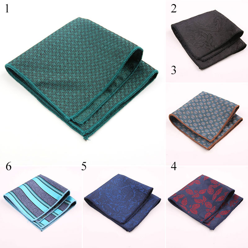 Men's Fashion Business Handkerchief Wedding Polyester Printed Fashion Vintage Dots Striped Pocket Square Towel 23*23CM