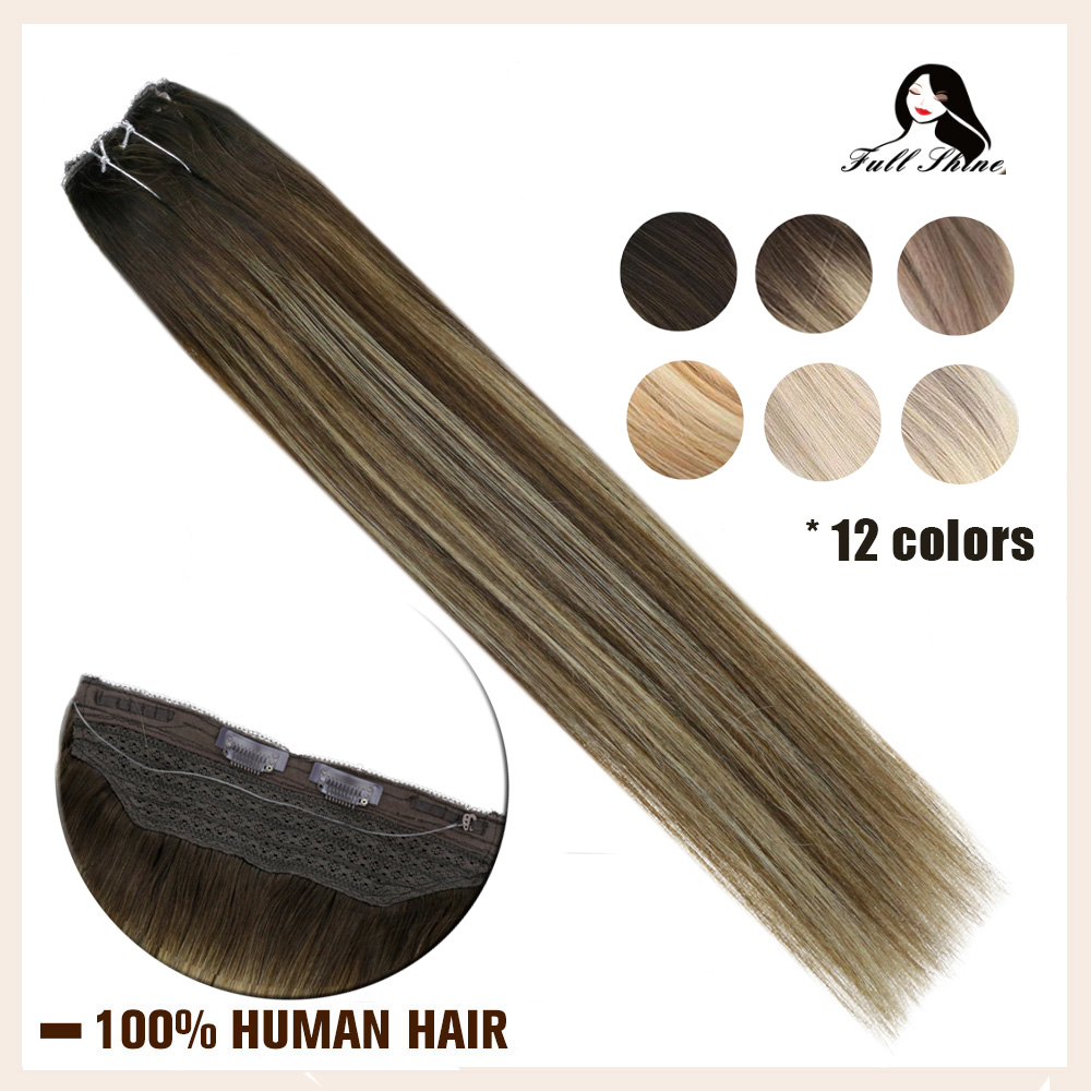 Full Shine Fish Line Hair Extensions Machine Made Remy Human Hair Extensions Bayalage Color One Piece No Clip Halo
