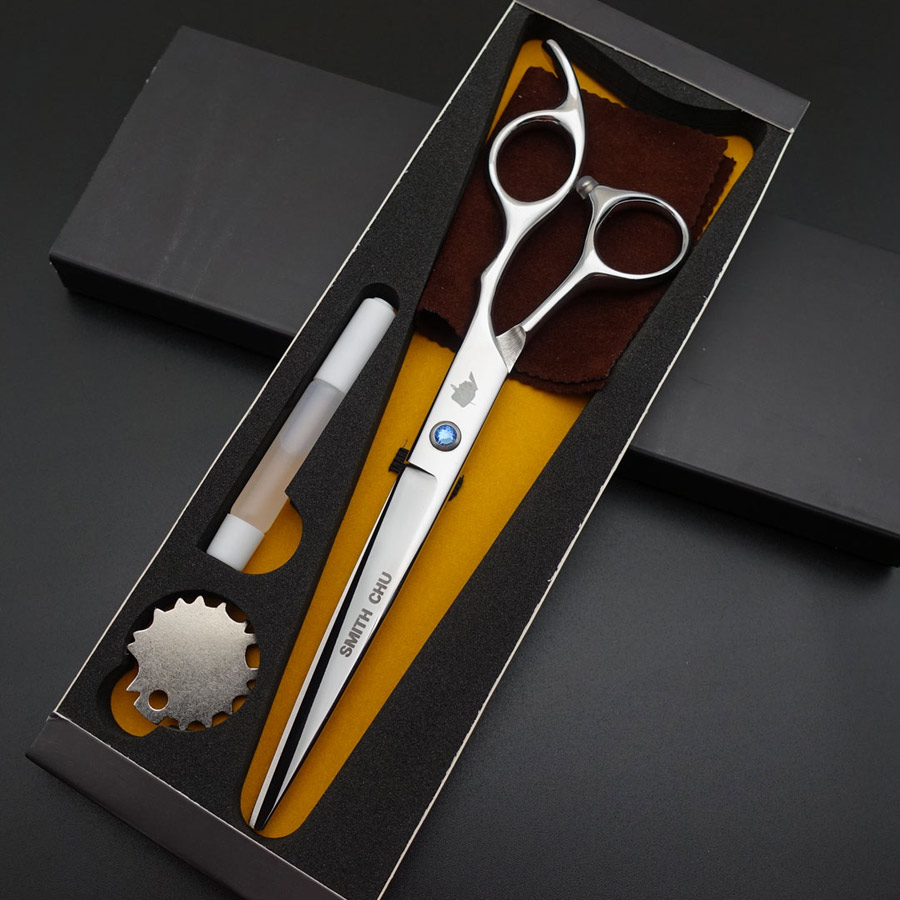 SMITH CHU Professional Hair Dressing Scissors 7inch Straight Cutting/Curved Scissors, Barber Shears Scissors Kits S036