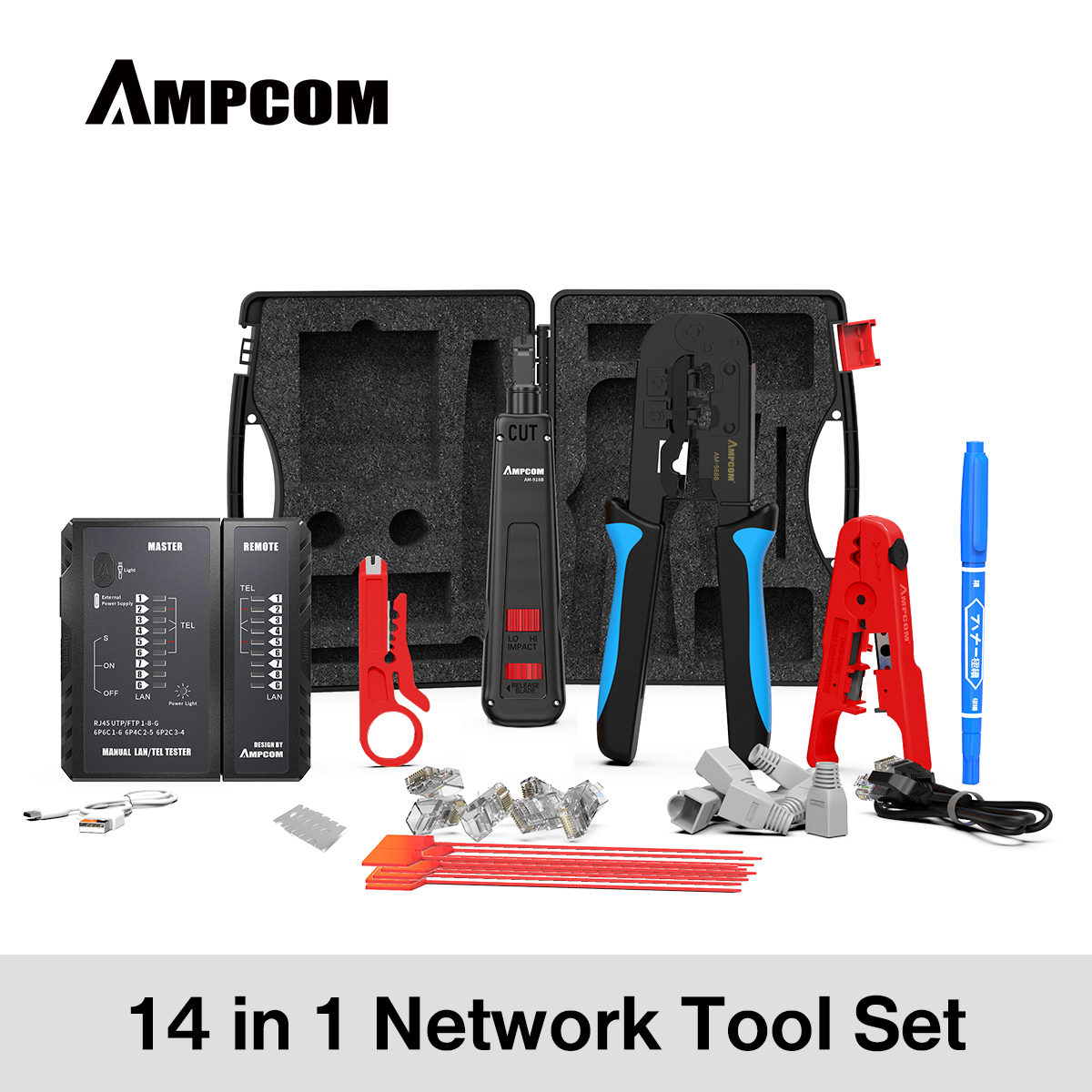 Комплект профессиональных сетевых инструментов AMPCOM 14 в 1, тестер кабелей Ethernet Rj45 Rj11 Cat6, щипцы для кабеля, щипцы для зачистки