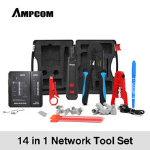 AMPCOM 14 in 1 Professional Network Tool Kit, Ethernet cable Tester Rj45 Rj11 Cat6 Connectors Cable Crimper, Stripper Pliers