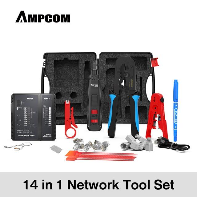 AMPCOM 14 in 1 Professional Network Tool Kit, Ethernet cable Tester Rj45 Rj11 Cat6 Connectors Cable Crimper, Stripper  Pliers