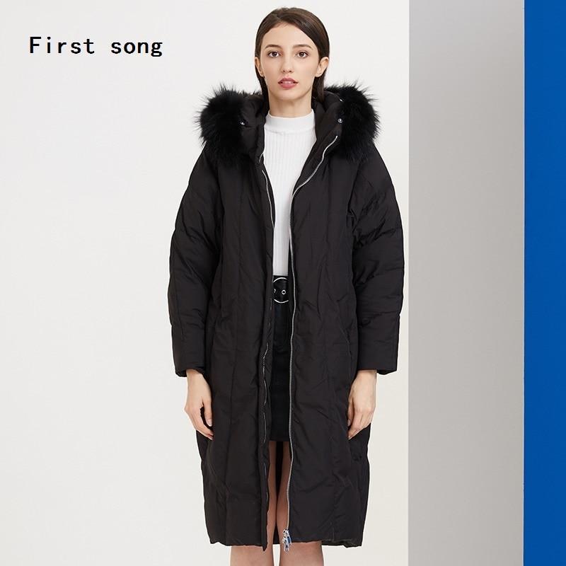 Winter 90% witte eendendons lange down jas 2019New warme jas hooded gecoat PU vrouwen jas down gewaden Moncler femme XL - 3