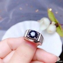 KJJEAXCMY boutique sieraden 925 sterling zilver ingelegd Natuurlijke saffier edelsteen ring mannen ondersteuning detectie nobele