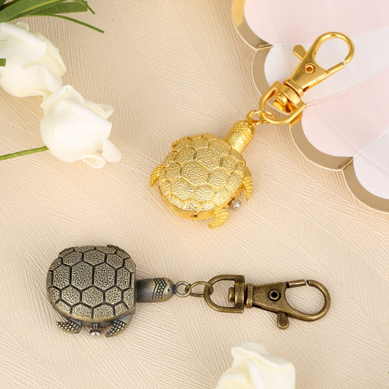 Little Cute Small Size Tortoise Keychains Quartz Pocket Watch Fob Retro Bronze Key Chain Christmas Gifts For Boys Girls Children