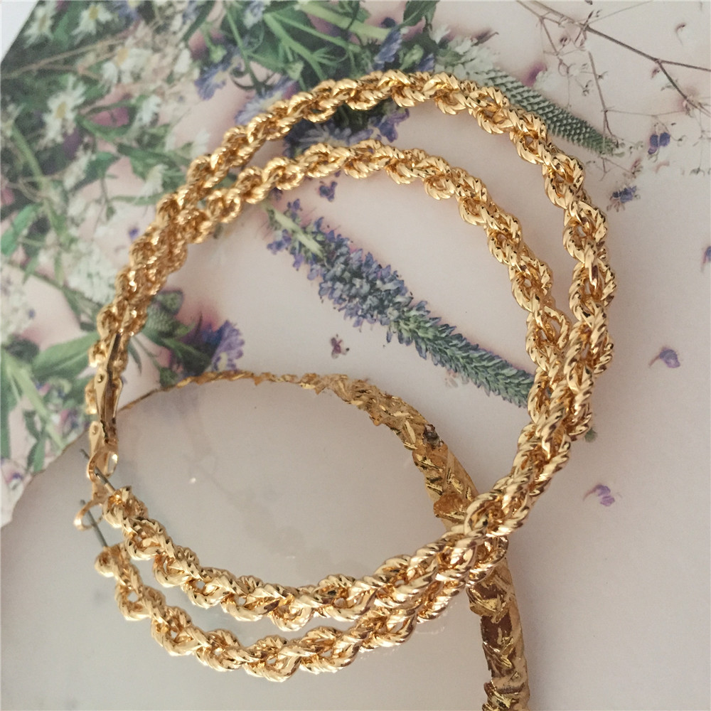 2020 New Trend Gold Color Braided Large Hoop Earrings For Women Girl Lady Gift High Quality Shiny Jewelry