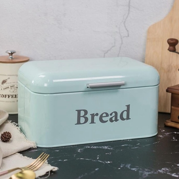 HLZS-Vintage Bread Box Cupboard Iron Snack Box Desktop Finishing Dust-Proof Storage Box Storage Bin Keeper Food Kitchen Shelf Dé фото