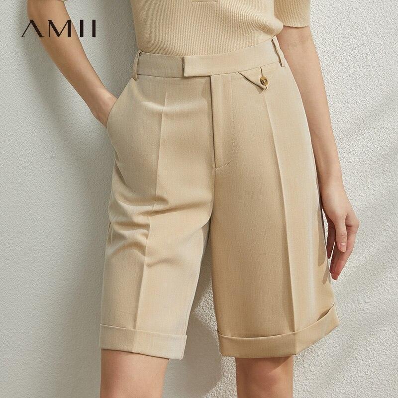 AMII Minimalism Spring Summer New Solid Shorts Women High Waist Straight Half Pants 12030205