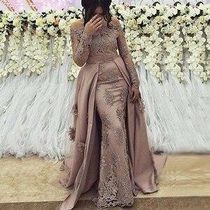 Image 1 - ערבית ארוך שרוולי ערב שמלות 2020 מכתף לטאטא רכבת רוכסן תחרה חרוזים אלגנטי בתוספת גודל אירוע רשמי המפלגה כותנות