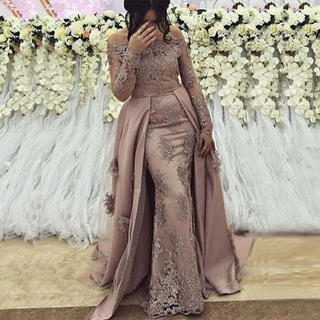 Arabic Long Sleeves Evening Dresses 2020 Off Shoulder Sweep Train Zipper Lace Beaded Elegant Plus Size Event Formal Party Gowns