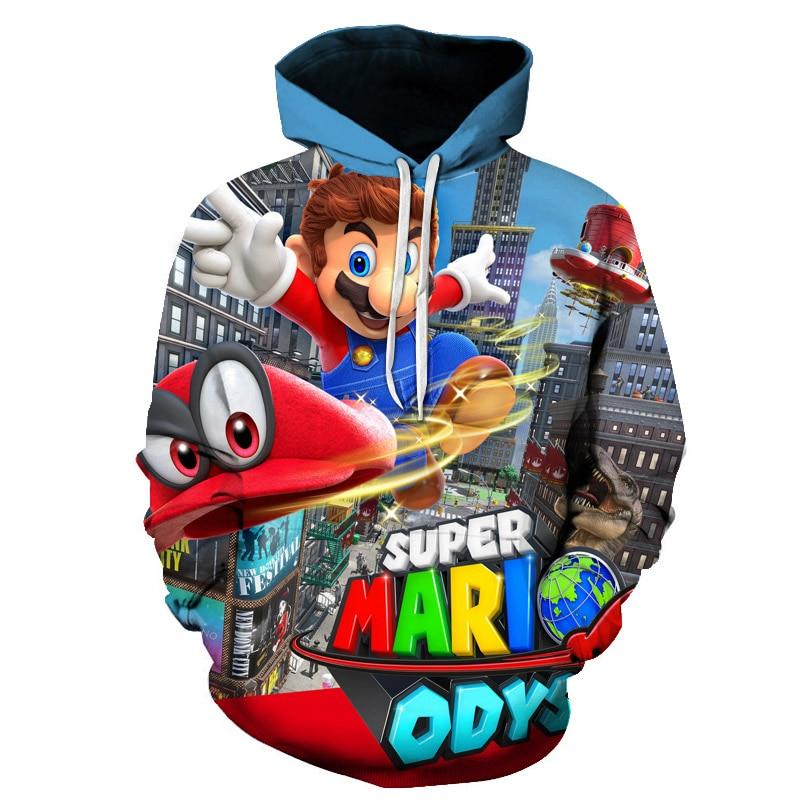 2019 Autumn New 3d Hoodies Cartoon Super Mario Sweatshirt Funny Casual Pullover 3d