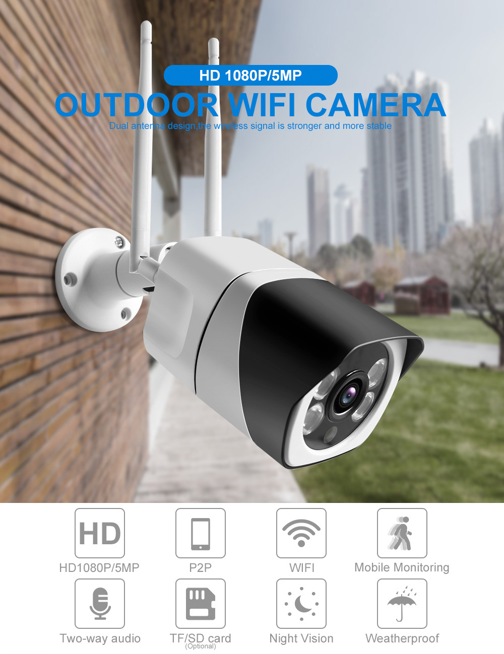 Ha8b3dc784a954262a07be1ef427859f8B HD 5MP Wifi IP Camera ONVIF 1080P Wireless Wired CCTV Bullet Camera Outdoor Two Way Audio TF Card Slot Max 64G IR 20m P2P iCsee