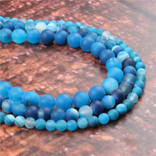 Wholesale Fashion Jewelry Frosted blue stripes 4/6/8/10 / 12mm Suitable For Making Jewelry DIY Bracelet Necklace