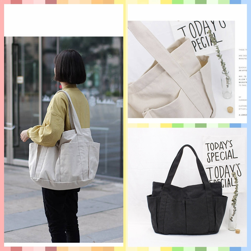 New Large Capacity Canvas Girls Handbag Women's Shoulder Bags Casual Totes For Women Ladies Hand Beach Bag Day Clutches Summer