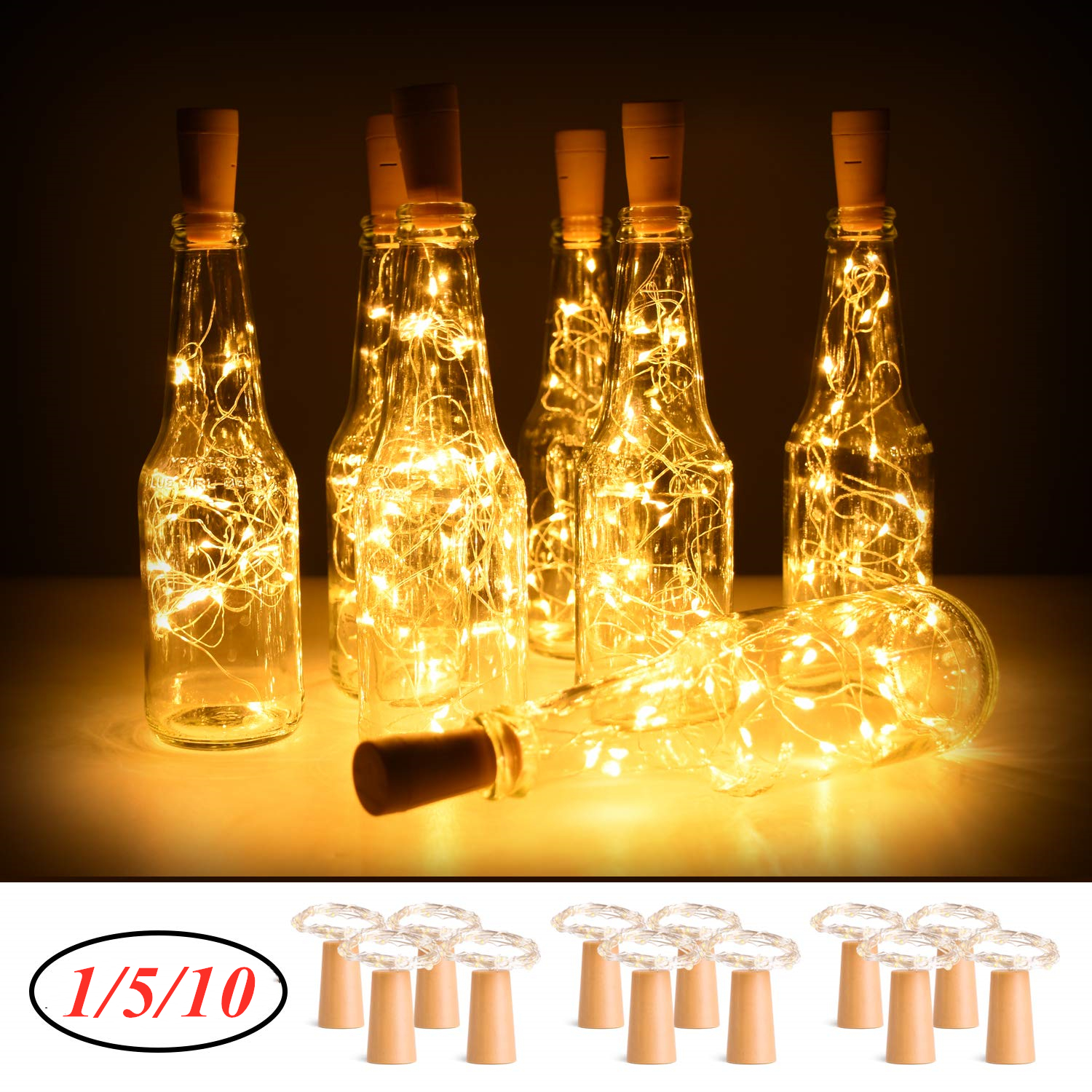 Wine Bottle Lights With Cork String Lights Battery Operated Copper Wire Fairy Light For DIY,Party,Christmas,Wedding Decor