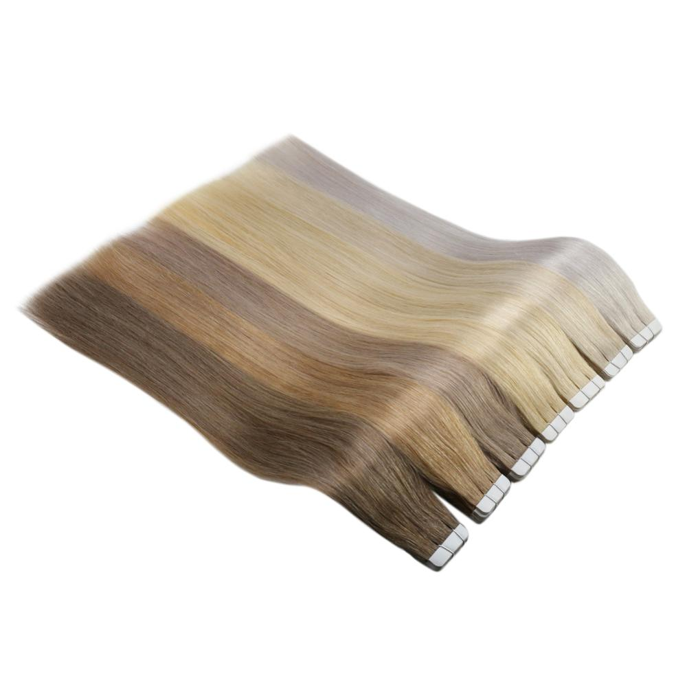 Full Shine Solid Color Tape In Hair Extensions 100g 40Pcs Tape Adhesive On Hair Machine Made Remy Human Hair Extensions