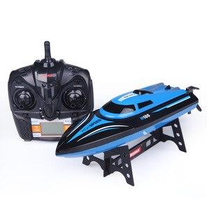 Barca Ad alta Velocità 2.4GHz 4 Canali Corsa di Barca di Telecomando H100 Blu Barca del RC 30km/h Con Schermo LCD giocattoli Per Il Regalo Di Natale