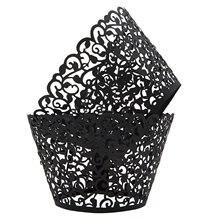 METABLE Pack of 100 Vine Cupcake Holders Filigree Artistic Bake Cake Paper Cups Designed Decor Wrapper Muffin Holder