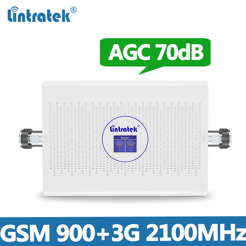 Lintretek 2G 3G Signal Booster 900 2100Mhz AGC GSM 2G 3G Repeater 70dB High Gain Cellphone Signal Ampli Repeater 900 2100 KW23C