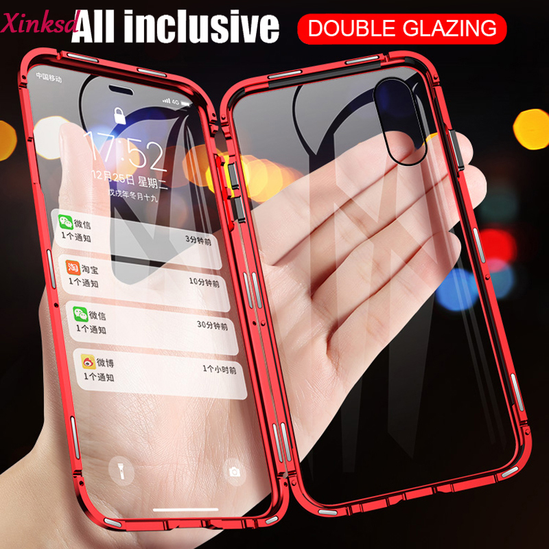 360 Double Side Magnetic Adsorption tempered <font><b>Glass</b></font> Phone <font><b>Case</b></font> For <font><b>Samsung</b></font> Galaxy A80 A70 A60 <font><b>A50</b></font> A10 A10S A30 A20 A9 A7 2018 image