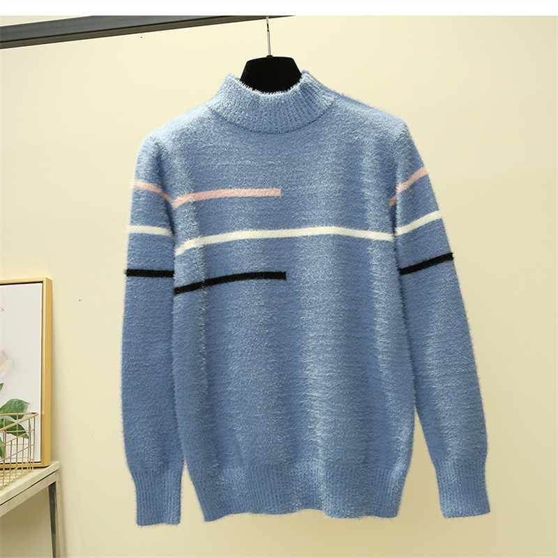 Feminino All Match Line Loose Casual O-Neck Warm Knitted Sweater Pullover Autumn Knitwear Sueter Mujer Long Sleeve Women New