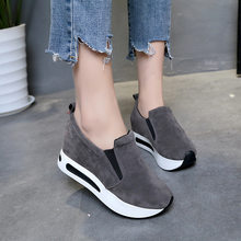 Women Fashion Casual Flock Slip-On Thick Platform Sport Sneakers Wedges Shoes Women Sneakers Basket Femme Sneakers Women(China)
