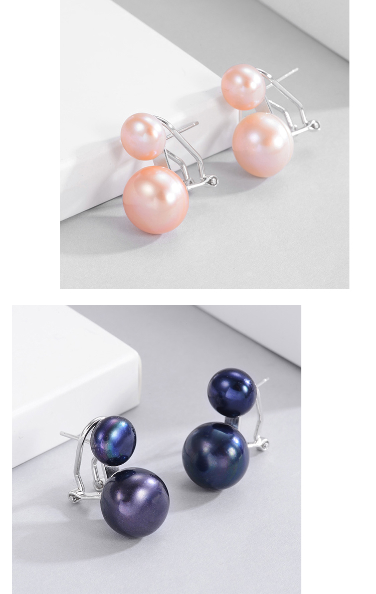 Ha8b483bf58624e71b5dbb2e34399ee2b5 Hongye Natural Freshwater Pearl Earrings 925 Sterling Silver jewelry Double White Pearl Stud Earring for Women Wedding Gift