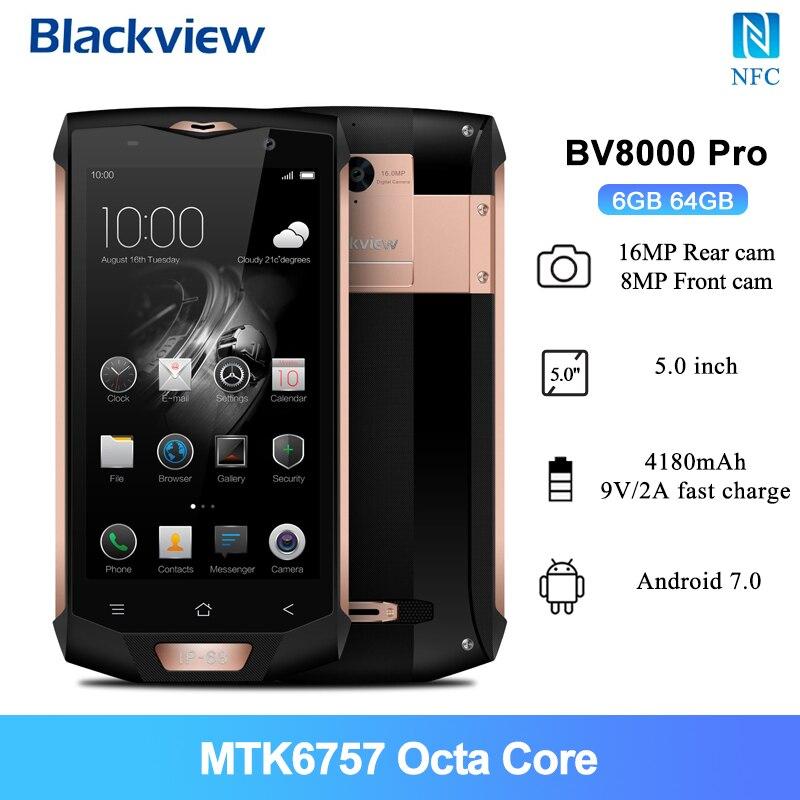 Blackview BV8000 Pro 4G Smartphone LTE 6GB 64GB 5.0 Cal MTK6757 octa-core 16.0MP kamera cofania 4180mAh NFC IP68 wodoodporny telefon komórkowy