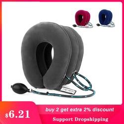 Pescoço trator inflável ar cervical tração dispositivo suporte colar vértebra ortopedia massagem relaxamento cinta