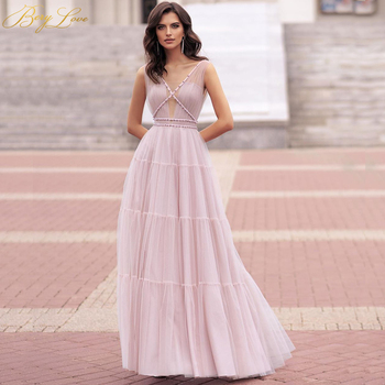 Blush Pink Evening Dress Pearls Prom V neck Gown Bead Nude Tulle Bodice Bead Crisscross A line Young Girls Formal Dress New Gown embroidered bodice frilled dress