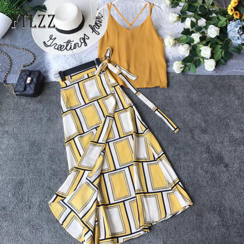 Summer Two Piece Set Women Sexy V Neck Blouse Tank Tops + Vintage Geometry Bandage Skirt Suits Woman Beach 2 Pcs Outfit Clothes