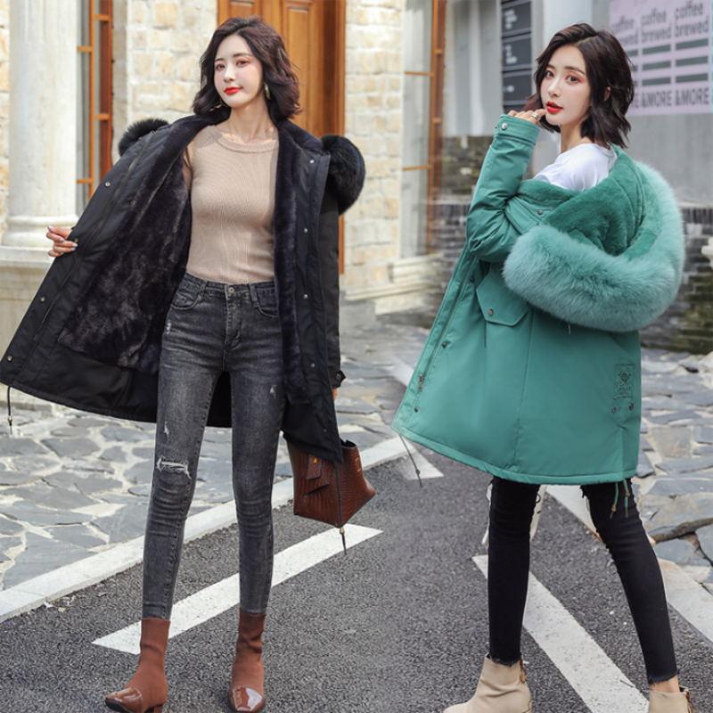 Зимние парки 2019 зима 30 градусов женские парки пальто с капюшоном меховой воротник толстая секция теплые зимние куртки зимнее пальто куртка - 4
