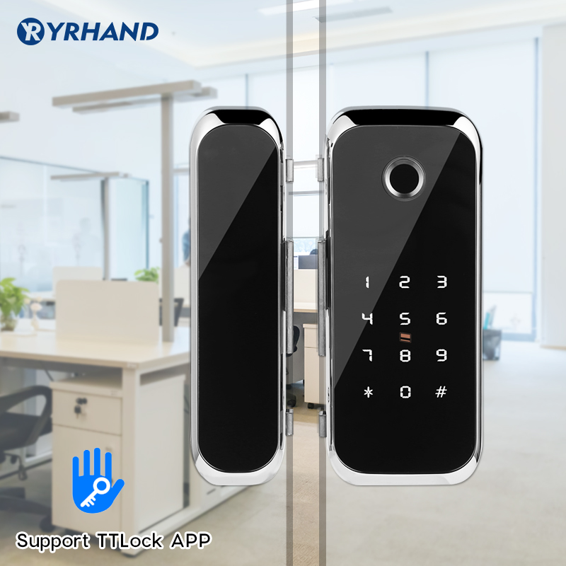 Smart WiFi Bluetooth APP Access Electronic Biometric Fingerprint Office Glass Sliding Door Lock