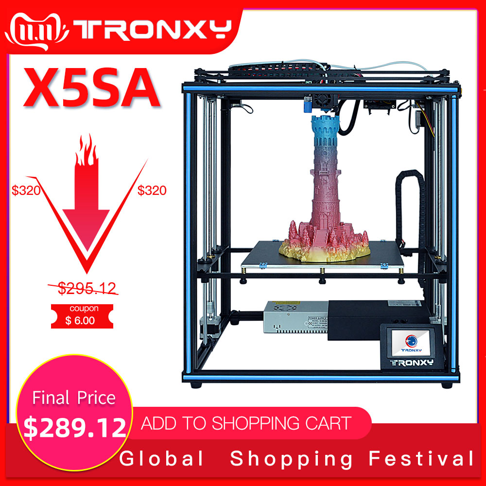 Tronxy 2019 New Upgraded X5SA 24V 3D Printer CoreXY DIY Kits Metal Build Plate 330*330mm Heat table 3d machine Filament Sensor