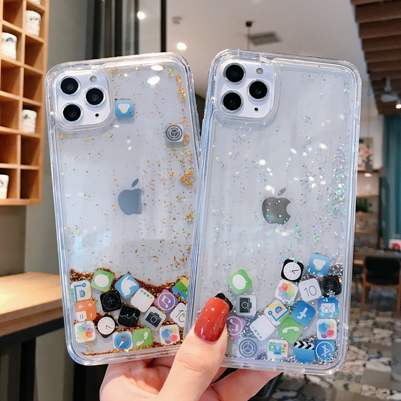 Coque Iphone 11 Clear Back Cover Gold Silver Glossy Glitter Bling Iphone XR Case APP Fitted Cases XS Max X 7 8 6S Plus 11 Pro image