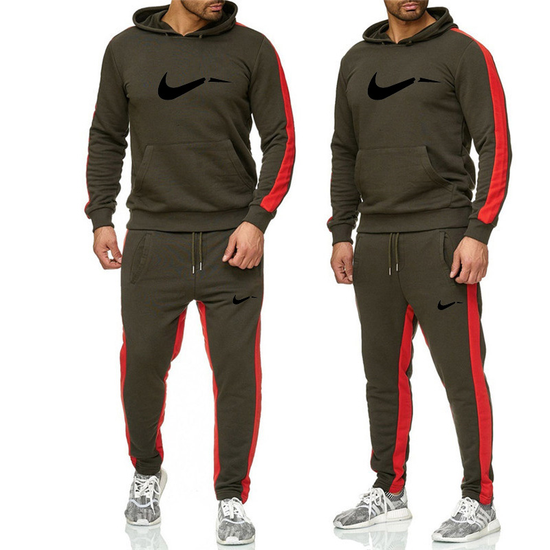 Winter Thick Men Sports Suits Tracksuit Hoodie Sportswear Keep Warm Fleece Hooded Jackets+Elastic Waist Pants Running Sets