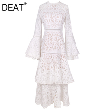 DEAT2021 Bohemian Jurk Vrouwen Palace Vintage Hollow Out Flare Mouw Hoge Taille Flare Mouw Multi-layer Elegante Mode AM595
