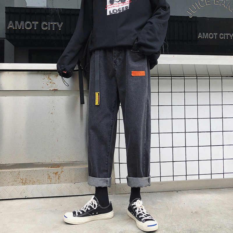 Mens Koreaanse Fashoins Harem Blauwe Jeans Broek 2020 Vrouwen Zwart Vintage Jeans Rechte Broek Casual Mannelijke Denim Broek Over Size