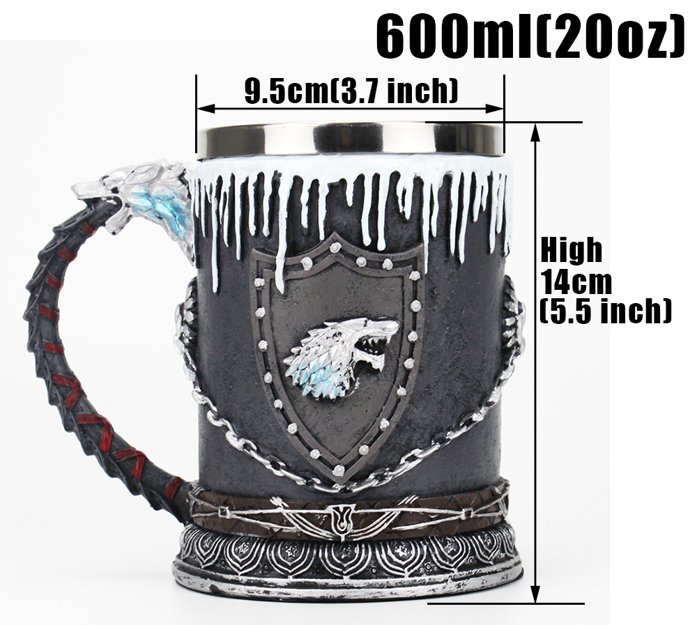 Game of Thrones Mug Tankard Nemesis Now House Stark Tankard Beer Coffee Drinkware Mugs 500-600ml BEST GOT Fan Gift