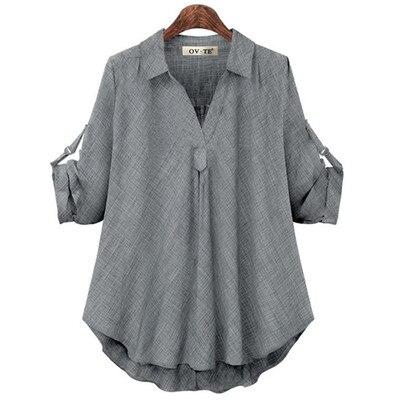 Женские рубашки размера плюс 4XL, Европейский стиль, женские рубашки, весна-лето, свободная блузка с длинным рукавом, топы, брендовая офисная одежда для женщин, Новинка - Цвет: Gray