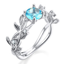 Aquamarine Gemstone Lucky Flower Twig Ring Creative Fashion Women Engagement Ring Jewelry Drop Shipping(China)