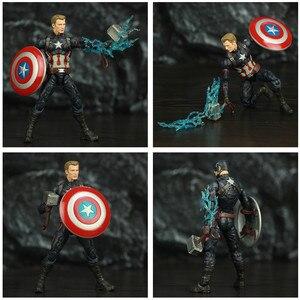 "Image 5 - נוקם סוף המשחק קפטן אמריקה 6 ""פעולה איור KO של ML אגדות Custom סטיבן רוג רס Mjolnir ראוי קפטן ראש בובה צעצועים"