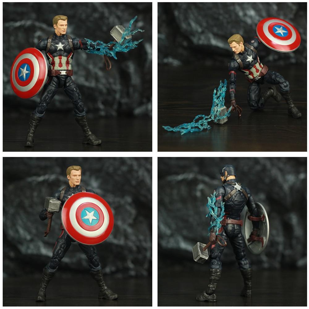 """Image 5 - Avengers Endgame Captain America 6"""" Action Figure KOs Marvel Legends Custom Steven Rogers Mjolnir Worthy Captain Head Doll ToysAction & Toy Figures   -"""