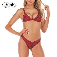 Qeils 2021 novo europeu e americano roupa de banho sexy vermelho animal cobra padrão biquíni sexy triângulo divisão swimsuit36