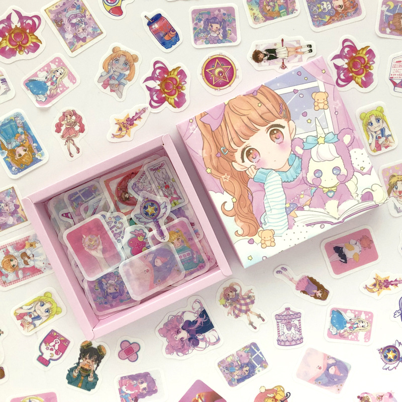 200 Pcs/pack Pink Girlhood Bullet Journal Decorative Box Stickers Scrapbooking Stick Label Diary Stationery Album