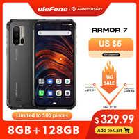 Ulefone armadura 7 ip68 áspero telefone móvel 2.4g/5g wifi helio p90 8 gb + 128 gb android 9.0 48mp cam 4g lte versão global smartphone