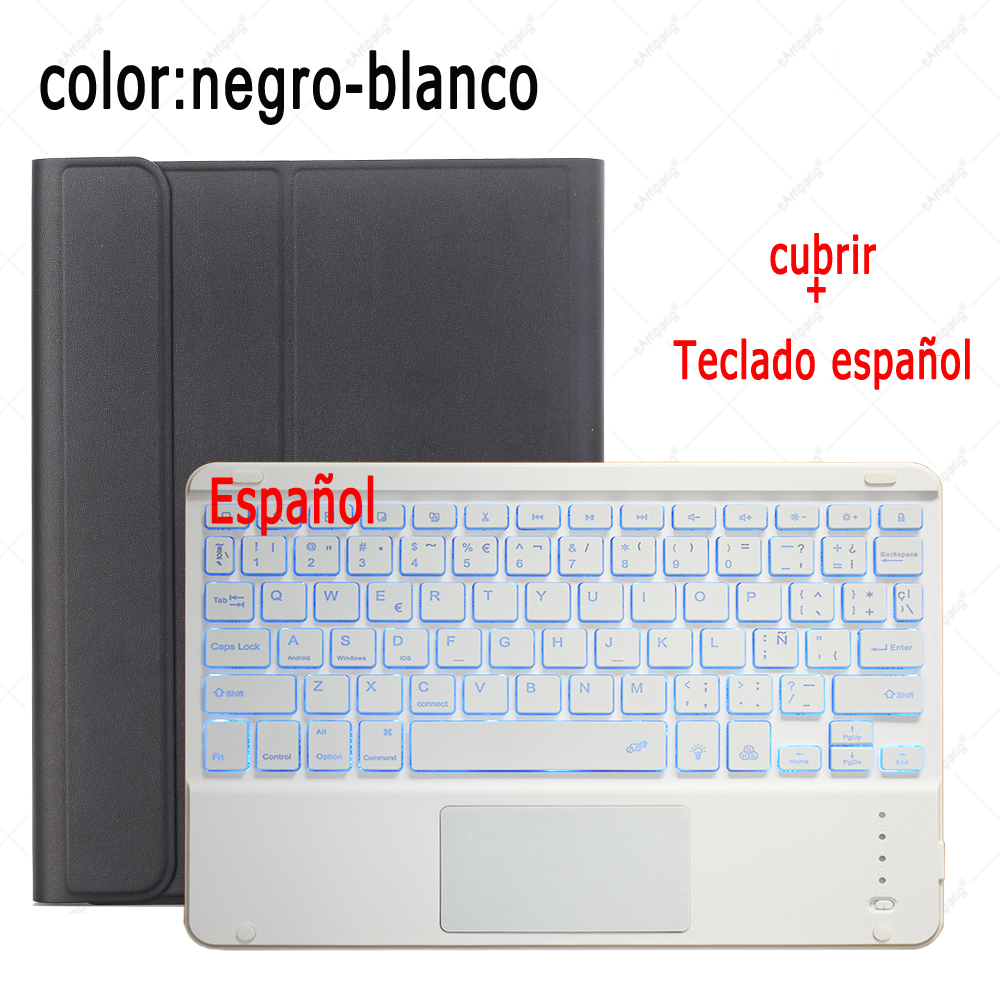 Spanish Keyboard Misty Gray For iPad 7th 8th Generation 10 2 2019 A2200 A2198 A2232 Case with Backlit Touchpad Keyboard