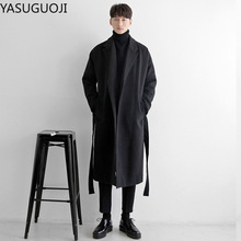 YASUGUOJI Cardigans Blends Coat with Belt Overcoat Male Winter Coat New Black Turn-down Collar Long Coat Men's Clothing