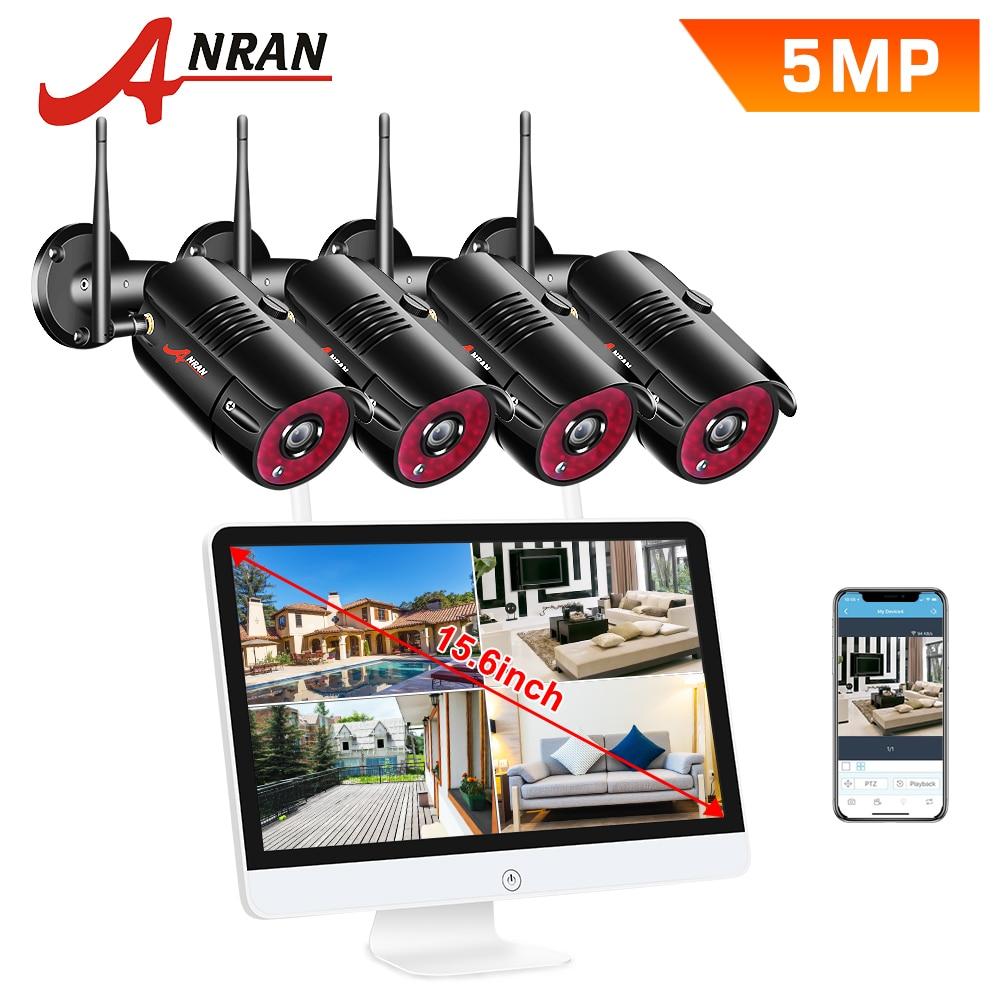 ANRAN 1920P, Kits inalámbricos NVR, pantalla LCD de 15 ', seguridad HD para exteriores, cámara IP de 5MP, videovigilancia, wifi, sistema de cámara cctv Ip66 Cámara de Video CCTV de 8MP y 5 pulgadas ahd ip, probador de cámara de vídeo mini ahd con soporte de monitor VGA 4 en 1 HDMI, entrada UTP, prueba de Cable