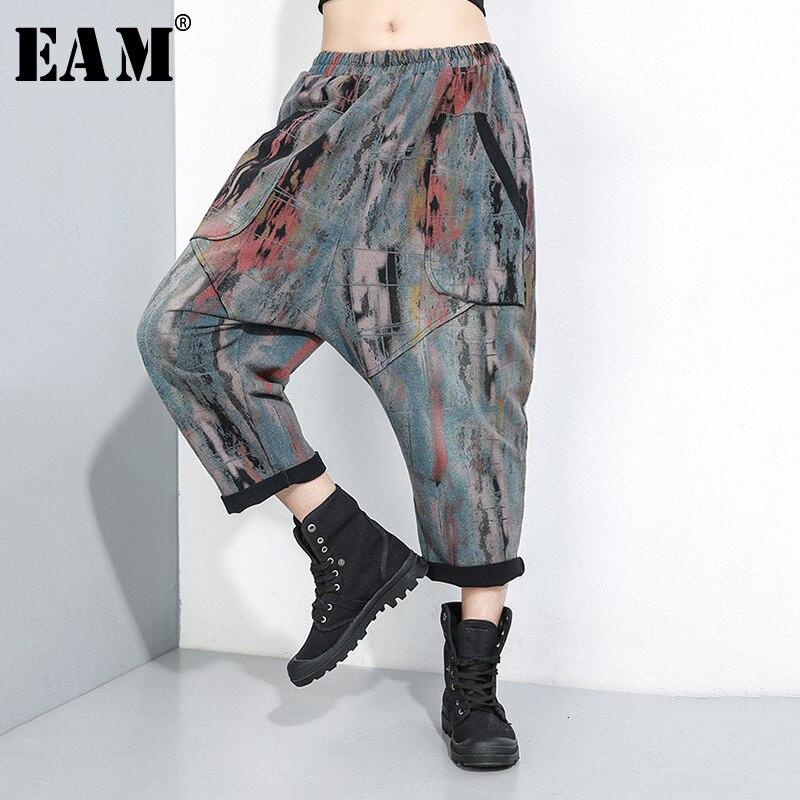 [EAM] High Elastic Waist Pocket Graffiti Hit Color Trousers New Loose Fit Pants Women Fashion Tide Spring Autumn 2019 1B693